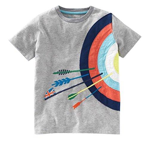 Toddler Kids Baby Boys Girls Clothes Cartoon Short Sleeve T-Shirt Tops (Gray, 4T)