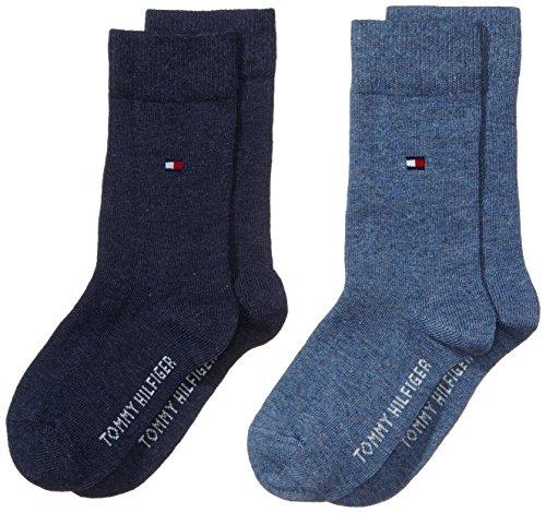 Tommy Hilfiger Children Sock TH Basic 2p Calcetines, Azul (Jeans 356), 35-38 (Pack de 2) para Niños