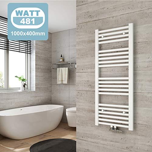 WELMAX Badheizkörper Weiß Handtuchtrockner Heizung 1000 x 400 mm Bad Heizkörper Handtuchheizkörper Mittelanschluss Handtuchwärmer