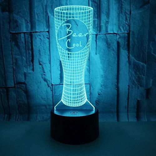 3D Lampada Optical Illusion Forma di boccale di birra LED Lampada Tavolo da tavolo a 7 colori con interruttore tattile remoto con cavo USB Comodino Lamp per il Regalo Bambini compleanno