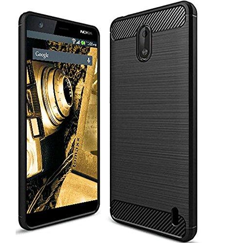 tomaxx Hülle Kompatibel mit Nokia 2.1 Hülle Silikon Schutzhülle Tasche Carbon Schwarz
