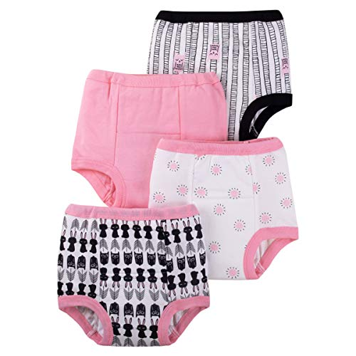 Lamaze Organic Baby Girls Reusable and Washable Toddler Potty Training Pants, Cotton Cloth, 4 Pack, Pink/White/Owl, 2T