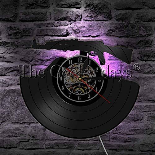 llvvv Reloj de Pared con Registro de Vinilo con Silueta en 3D de Bullet Time, Pistola LP, diseño Moderno, decoración del hogar, Regalo Hecho a Mano para Soldado