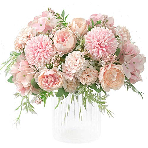 KIRIFLY Artificial Flowers, Fake Peony Silk Hydrangea Bouquet Decor Plastic Carnations Realistic Flower Arrangements Wedding Decoration Table Centerpieces 2 Packs (Light Pink)