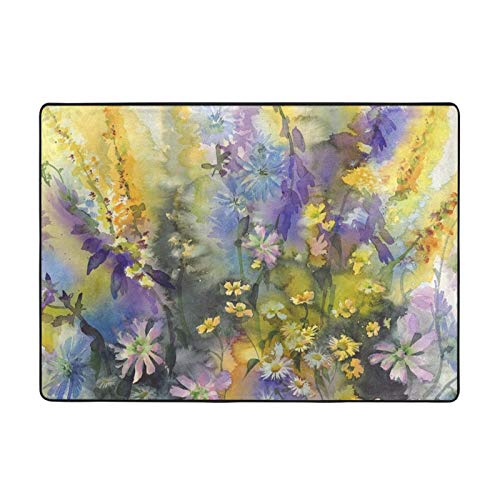 Retro Watercolor Floral Daisy Printed Area Rugs Ultra Soft Modern Indoor Carpets for Living Room/Bedroom - 80 X 58 in