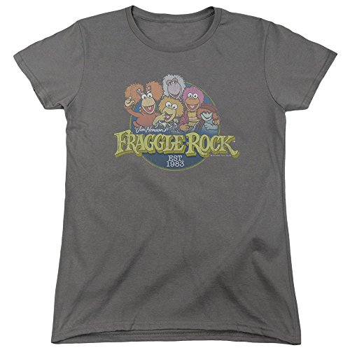 Trevco Fraggle Rock Circle Logo Women's T Shirt, Large Charcoal