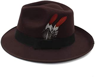 Hat Fashion Men's Hat of The Hat Male Hat Wedding Hat Tide Retro Jazz Hat Female England Fedora Hat Fashion Accessories (Color : Brown, Size : 56-58CM)