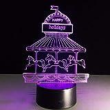 Ilusión 3D Lámpara de carrusel Luz de noche LED Lámpara de atmósfera colorida Iluminación Niños