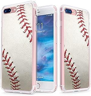 真正的彩色手机壳兼容 iPhone 8 Plus 手机壳& iPhone 7 Plus 手机壳透明背面印有透明屏蔽棒球运动系列 - 软硬薄减震*保护壳