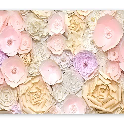 murando Fototapete selbstklebend Blumen 3D 343x256 cm Tapete Wandtapete Klebefolie Dekorfolie Tapetenfolie Wand Dekoration Wandaufkleber Wohnzimmer rose beige gelb b-B-0281-a-a