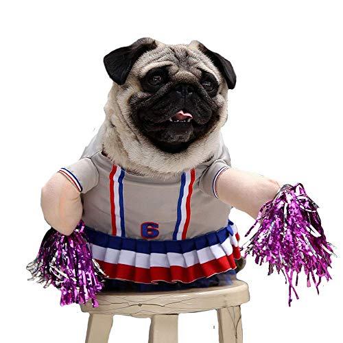 Ulalaza Hund Cheerleader Kostüm Funny Puppy Dress Rock Pet Outfits für Small Medium Dogs
