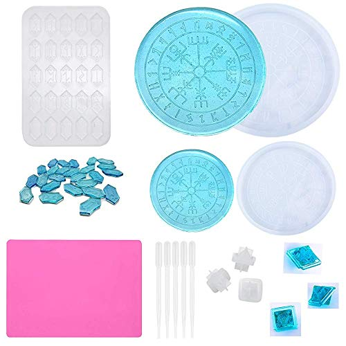 Rune Divination Resin Mold Set, Silicone Epoxy Casting Molds Includes 2 PCS Divination Compass Mat Tray Mold for Coaster, 1 PCS Rune Stones Silicone Mould, 3 PCS Rune DND Dice Mold for Casting Game