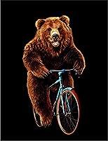 【FOX REPUBLIC】【自転車 熊 クマ】 黒マット紙(フレーム無し)A4サイズ