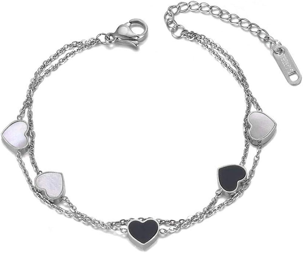 AAABBB Double Layers White/Black Shell Heart Charm Bracelet Stainless Steel Link Chain Bracelet