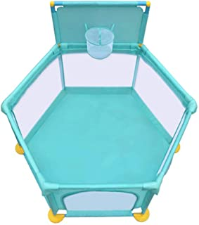 Baby Care Playpen  With Door Prevent Collision Safety Play Yard Basketball Hoop Breathable Playard For Outdoor Indoor Infant Toddlers Babies Products  Color Blue