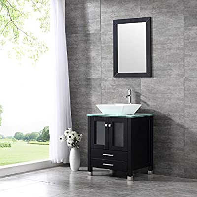 """WALCUT 24"""" Black Bathroom Vanity MDF Cabinet with Vanity Mirror Tempered Glass Counter Top White Ceramic Vessel Sink with Faucet and Pop Up Drain"""