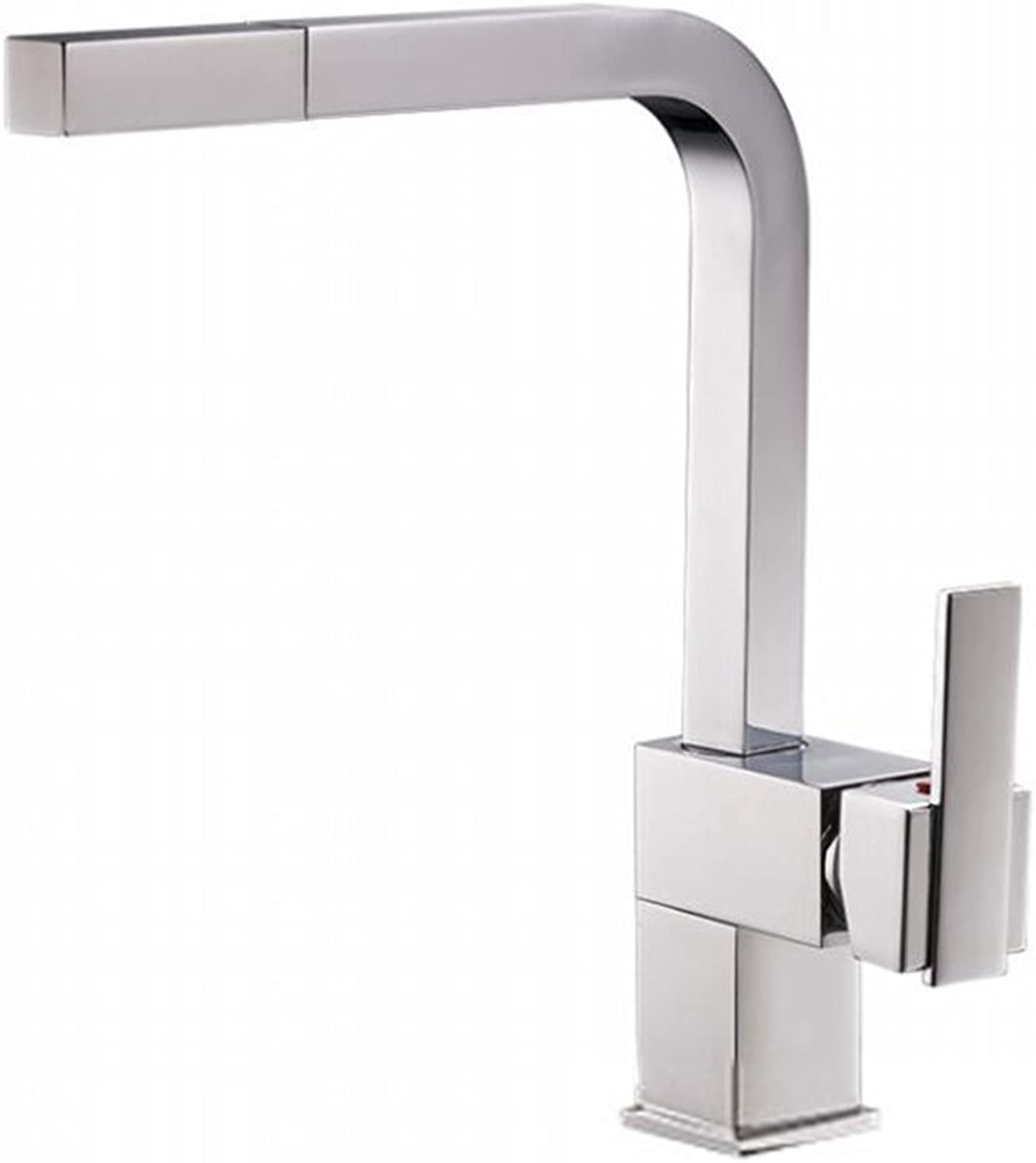 F.A.N.G.YUN New Kitchen Faucet, All Copper, Chrome-Plated, Single-Handle, Pull-Out Hot Cold Faucet Can Be redated