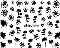ネイルシール 夏 サマー シェル ヤシの木 イカリ 選べる20種類 (ブラックMB, 24)