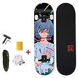 """VOMI Hignful Skateboard - Kids Adult Complete 7 Tablas De Skate De Madera De Arce Canadiense, Tabla De Tamaño Completo De 31""""X 8"""", Regalo De Cumpleaños para Niños, Niñas, Niñas(Patrón De Anime)"""