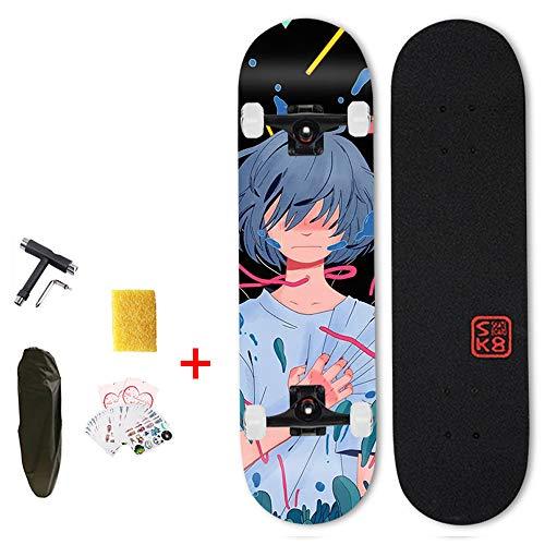 Hignful Skateboards Für Anfänger, Skeatbord Longboards Für Mädchen Jungen 31 Zoll Skateboard Für Jugendliche Kinder Erwachsene Skate Boards Konkave Deckform Mit Doppel-Kick, (Anime-Muster) (A) VOMI