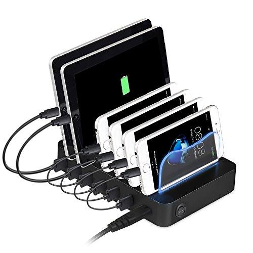 PRITEK USB-Ladestation kompatibel mit Handy, Tablet, MP4 und anderen USB-fähigen Gadget, Smart IC 6 Ports Multi-Gerät USB-Ladestation Dockingstation Organizer (keine USB-Kabel, schwarz)