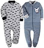 Baby Boy Pajamas 9-12 Month Sleep and Play Rompers Zip Front Footed Pjs 2 Pcs Set Bat&BlueStripes