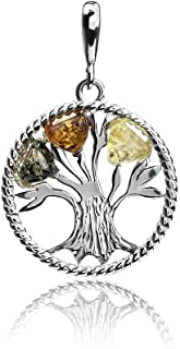 Multicolor Amber Sterling Silver Lucky Tree Pendant