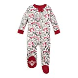 Burt's Bees Baby Unisex Baby Sleep & Play, Organic Pajamas, NB-9M One-Piece Zip Up Footed PJ Jumpsuit, Holiday Carols, 6-9 Months