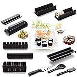 Kit de 11 piezas para hacer sushi, herramienta de plástico para principiantes para hacer sushi, herramienta completa con 8 moldes de rollo de arroz de sushi y 3 espátulas de tenedor