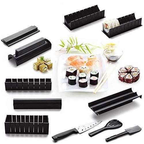 11-teiliges Sushi-Set für Anfänger, Kunststoff, Sushi-Maker-Werkzeug, komplett mit 8 Sushi-Reisrollenformen und 3 Gabelspachteln, DIY-Sushi-Werkzeug