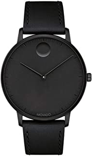 Movado FACE Black Stainless Steel Case, Black Dial, Black Leather Strap, Men, 3640002
