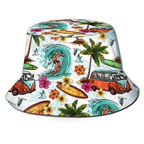 Bucket Hats Hawaiian Surf Print Gorra Negra con Visera Vintage para Exteriores para Mujeres y...