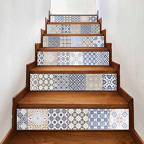 BNFD Pelar y Pegar Azulejos para Salpicaduras (Juego de 6) calcomanías para escaleras Patrón de ladrillo Elevador de Escalera Reformado Calcomanías para peldaños de Escalera Papel Tapiz
