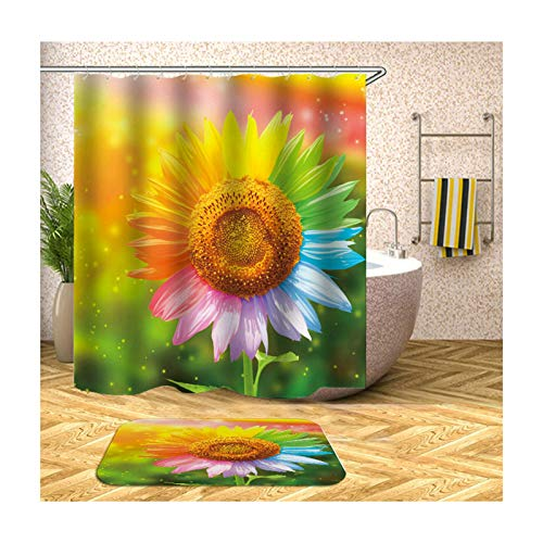 Beydodo Badmatset grappig douchegordijn antischimmel zonnebloem badkamertapijt 40x60 cm