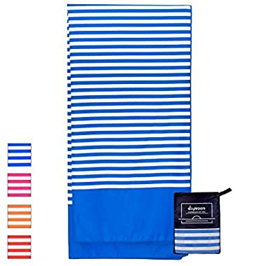 Microfiber Beach Towel Oversized - XL 70 x 35 Inch - Quick Dry, Sand Free, Extra Large, Lightweight with Easy Zipper Bag - Perfect for Travel, Yoga, Gym, Beach Blanket & Backpacking - (Blue Ocean)