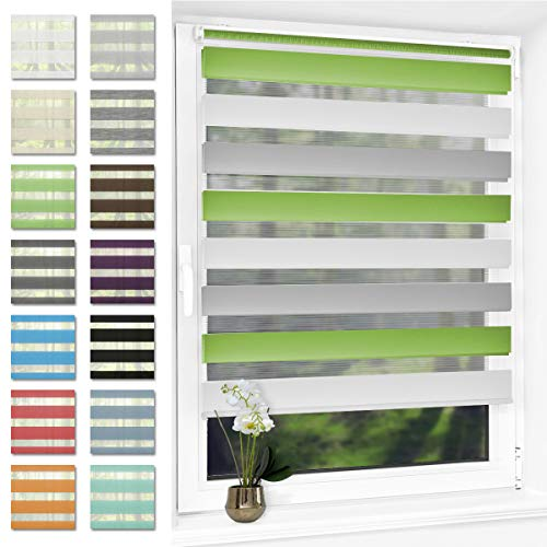 Doppelrollo klemmfix Duo Rollo ohne Bohren,Rollos für Fenster und Tür,lichtdurchlässig und verdunkelnd 90 x 120 cm(BxH) Grün-Grau-Weiß