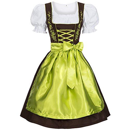 Gaudi-Leathers Bavarese Dirndl Set Marrone con Verde 3 Pezzi Costume Tipico Tirolese per Oktoberfest Carnevale Donna 34