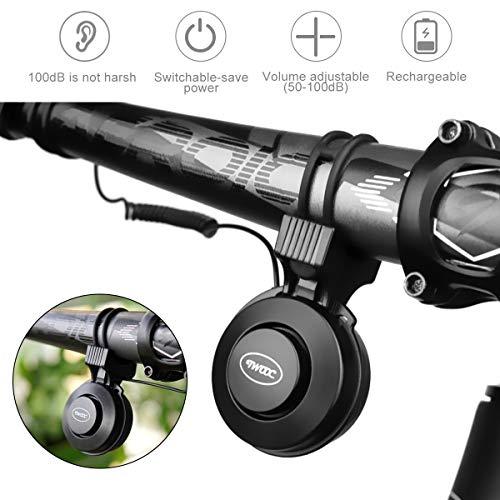 Makerfire Bici elettrica Corno USB Ricaricabile Bicicletta Bell 100 Db Invisibile Impermeabile 4 modalità 22-31.8 mm, Nero