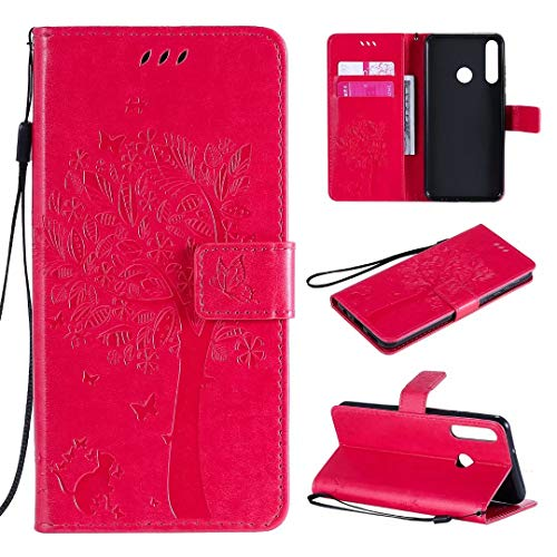 Miagon für Huawei P40 Lite E/Y7p Geldbörse Wallet Case,PU Leder Baum Katze Schmetterling Flip Cover Klapphülle Tasche Schutzhülle mit Magnet Handschlaufe Strap