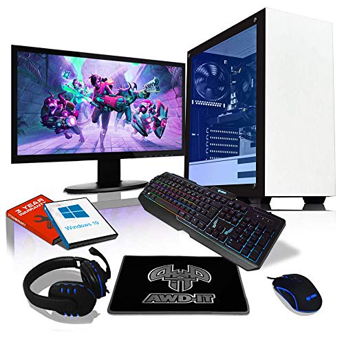 AWD-IT Game PC-pakket voor gaming: i5 9400F 4,1 GHz • 16 GB DDR4 RAM • GTX 1660 SUPER 6 GB • 240 GB SSD • 1 TB HDD • 24-inch scherm • Toetsenbord, muis, mat en hoofdtelefoon