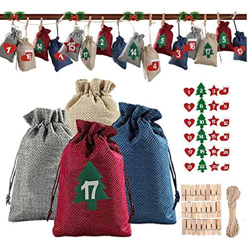 BOYATONG Adventskalender zum Befüllen Stoffsäckchen, DIY Weihnachtskalender mit 24 Filz Aufkleber, Zwei Größen Jutesäckchen Jute Beute, 2020 Weihnachten Geschenksäckchen für Männer Kinder