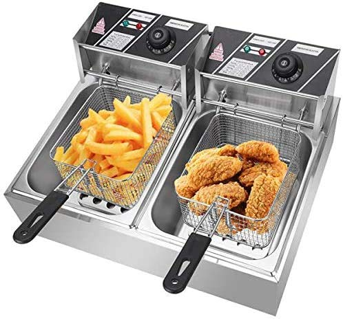 [US in Stock] Commercial Deep Fryer, 12.7QT/12L 5000W MAX Stainless Steel Electric Deep Fryer with Basket, Countertop Fryer Deep Fryer for Chicken Chips Fries French Fries Restaurant Home Kitchen