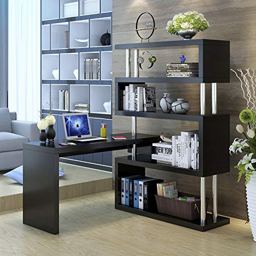 Zlolia Modern L-Shaped Home Office Desk,Rotating Computer Table with 5-Story Bookshelf,PC Laptop Table Corner Desk Workstation Larger Gaming Desk Easy to Assemble