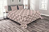 Lunarable Notre Dame Bedspread, Doodle Drawings of The Eiffel Tower Paris and a Couple, Decorative Quilted 3 Piece Coverlet Set with 2 Pillow Shams, King Size, Blush Charcoal Grey and White