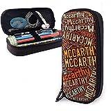 Mccarthy - Estuche de lápices de cuero American Capacity de gran capacidad, soporte de papelería para bolígrafo, caja de almacenamiento grande, bolsa de papelería para estudiantes