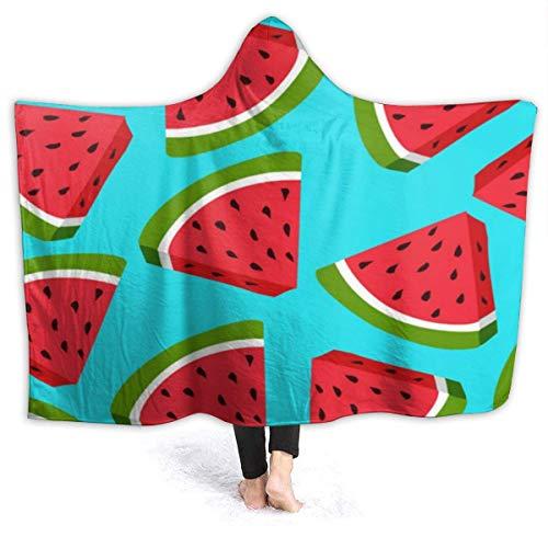 ZAlay Watermelon Blue Pattern Kapuzendecke Premium Sherpa Throw Blanket Hooded