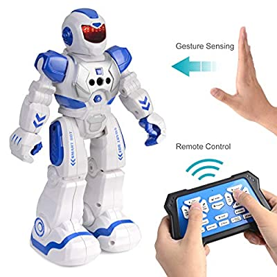 KMiKE RC Robot for Kids Intelligent Programmable Remote Infrared Sensing and Gesture Sensing Robots with Singing, Dancing, for Kids (Blue)