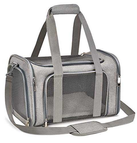 Qlf yuu Cat Carrier Dog Carrier Portable Pet Carrier, Soft Sided Cat Carrier Medium Small Airline Approved, Foldable Bunny Puppy Cat Carrier up to 15lbs, Cat Bag Carrier for Travel (Grey, Medium)