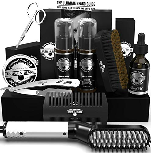 Beard Straightener Grooming Kit for Men, Beard Brush, Double Side Comb, Unscented Growth Oil, All Natural Chanel Balm, Shampoo, Conditioner, Razor & Scissors, Perfect Gifts for Dad & Husband