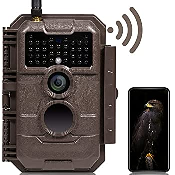 GardePro E6 Trail Camera WiFi Bluetooth 24MP 1296P Game Camera with No Glow Night Vision Motion Activated Waterproof for Wildlife Deer Scouting Hunting or Property Security Brown